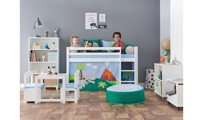 Hoppekids Hochbett »Dinosaurier«, inkl. Vorhang-Set, Matratze und Rollrost kaufen