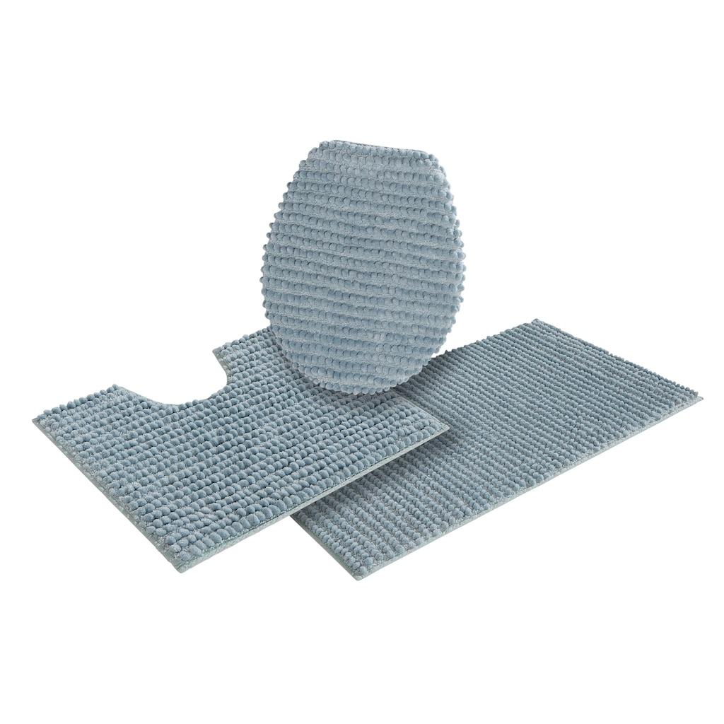 andas Badematte »Renat«, Höhe 15 mm, Badteppich, Badgarnitur, Badezimmerteppich in Pastell, waschbar, geeignet für Fußbodenheizung, schnell trocknend