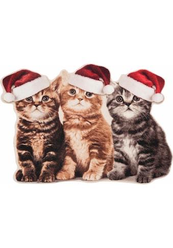 Fussmatte, »Weihnachtskatzen«, HANSE Home, rechteckig, Höhe 7 mm, maschinell getuftet kaufen