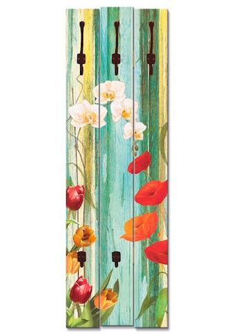 Artland Garderobenpaneel »Bunte Blumen«, platzsparende Wandgarderobe aus Holz mit 5... kaufen