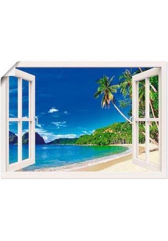 Artland Wandbild »Fensterblick Paradies«, Fensterblick, (1 St.), in vielen Grössen & Produktarten - Alubild / Outdoorbild für den Aussenbereich, Leinwandbild, Poster, Wandaufkleber / Wandtattoo auch für Badezimmer geeignet kaufen