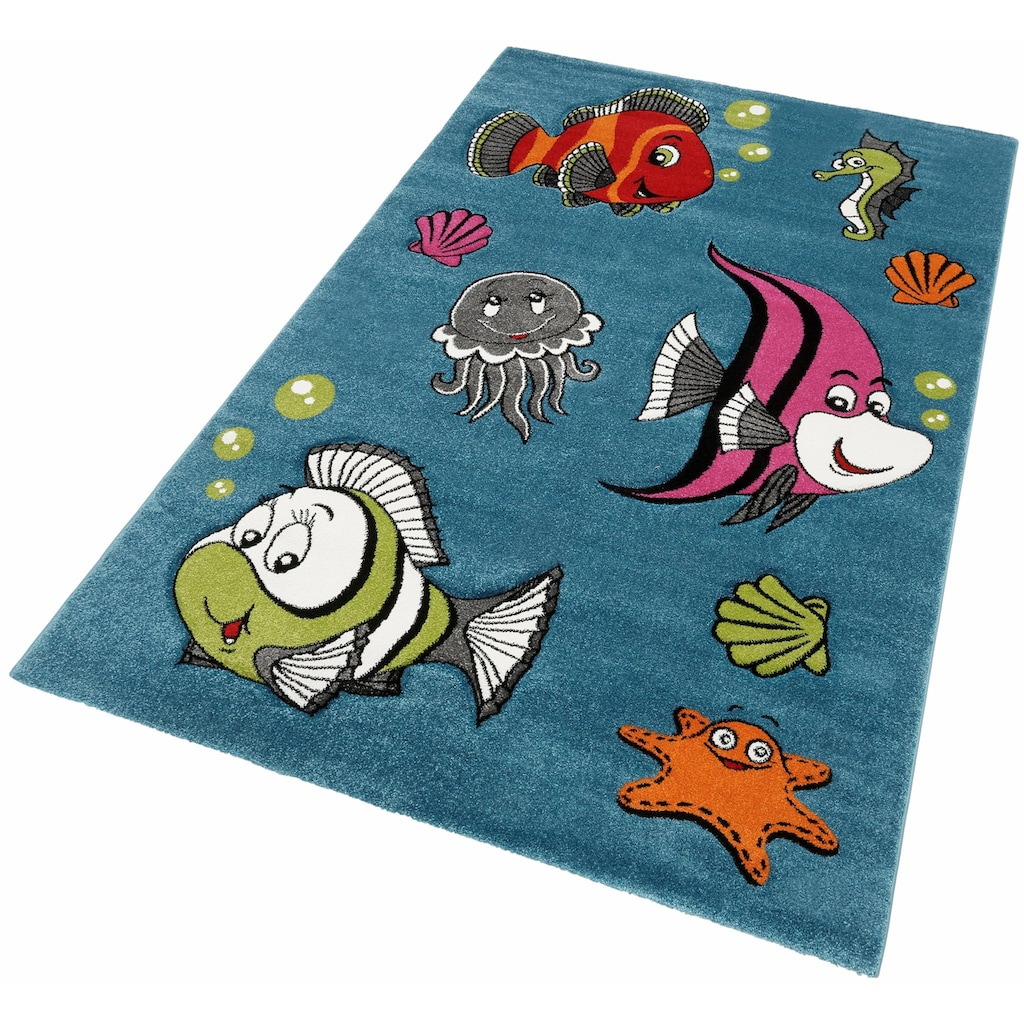 merinos Kinderteppich »GERS«, rechteckig, 13 mm Höhe, bunte Fische, handgearbeiteter Konturenschnitt