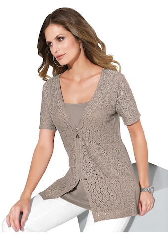 Lady 2 - in - 1 - Shirtjacke mit blickdicht unterlegter Spitze kaufen