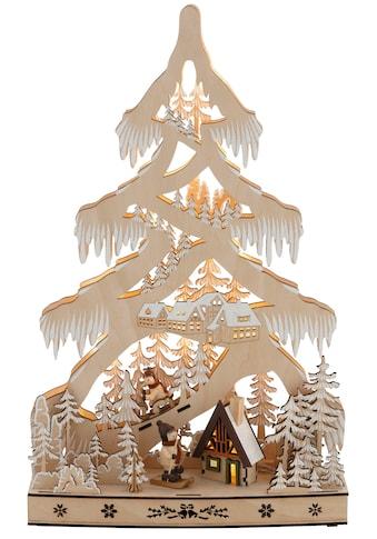 LED Baum »Schneelandschaft«, Warmweiss, mit Hütte und Skifahrern, Höhe ca. 48 cm kaufen