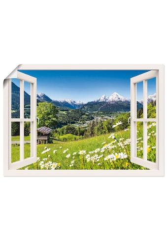 Artland Wandbild »Fensterblick Bayerischen Alpen«, Berge, (1 St.), in vielen Grössen & Produktarten - Alubild / Outdoorbild für den Aussenbereich, Leinwandbild, Poster, Wandaufkleber / Wandtattoo auch für Badezimmer geeignet kaufen