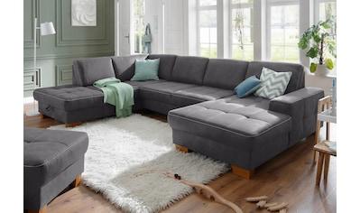 Home affaire Wohnlandschaft »Pucci«, mit Federkern, Sitztiefenverstellung, Kontrastnaht kaufen