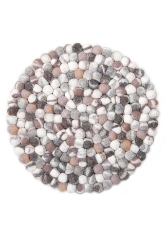 THEKO Wollteppich »Ballo«, rund, 22 mm Höhe, Filzkugel-Teppich, reine Wolle,... kaufen