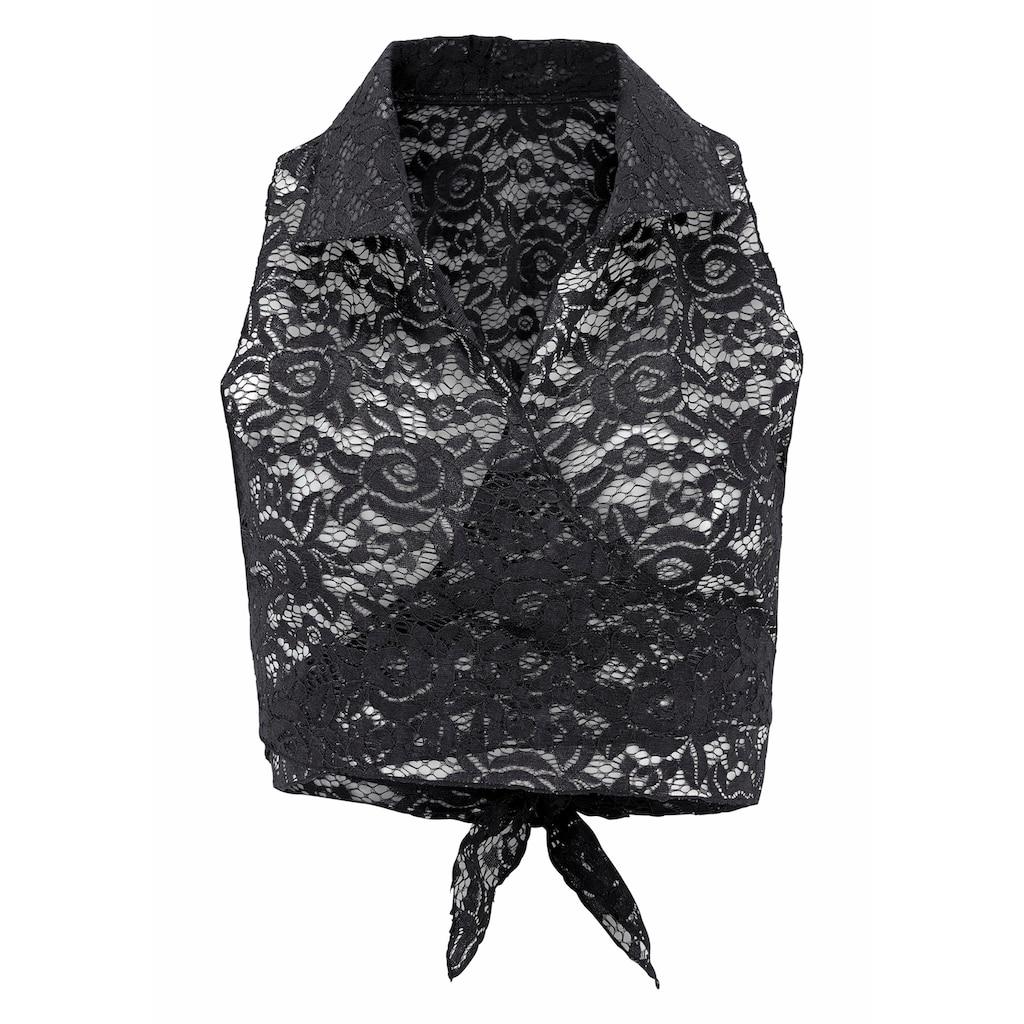 LASCANA Spitzentop, aus transparenter Spitze mit Hemdkragen