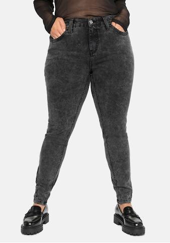 Sheego Stretch-Jeans, in Moonwashed-Optik, jedes Teil ein Unikat kaufen