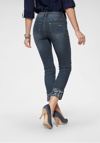Arizona 7/8-Jeans »Turn - Up mit floralem Print«, Mid Waist kaufen