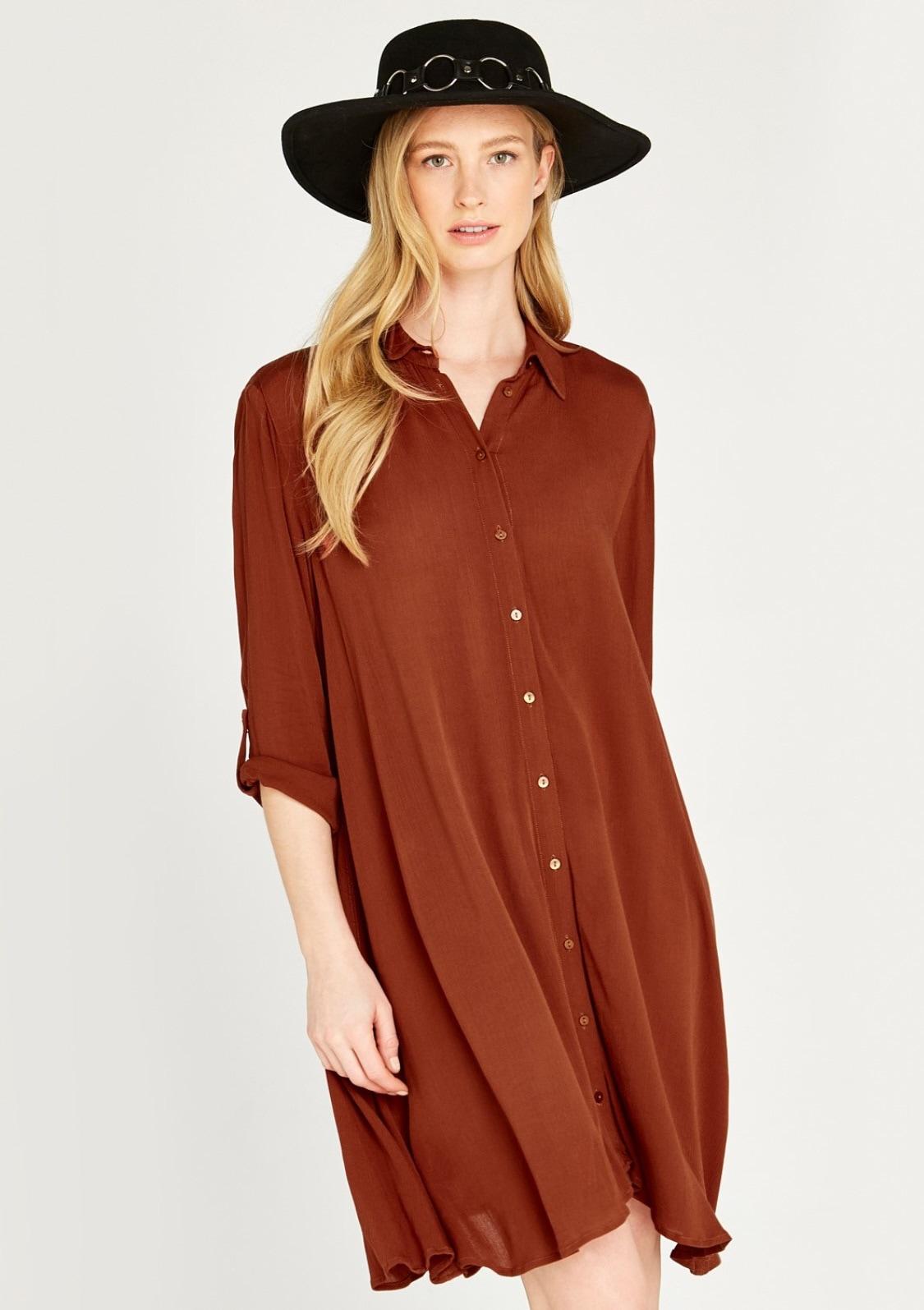 Image of Apricot Hemdblusenkleid »Crinkle Viscose Swing Shirt Dress«