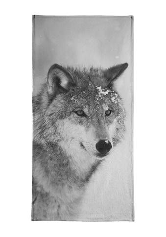 Juniqe Handtuch »The Wolf«, (1 St.), Weiche Frottee-Veloursqualität kaufen