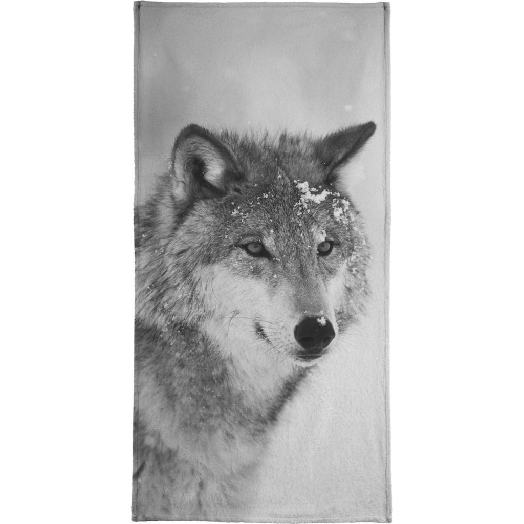 Juniqe Handtuch »The Wolf«, (1 St.), Weiche Frottee-Veloursqualität