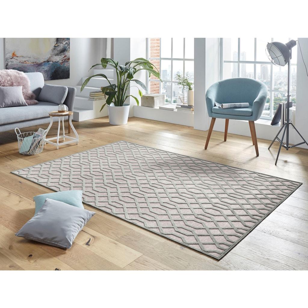 MINT RUGS Teppich »Caine«, rechteckig, 4 mm Höhe, Viskose Glanz mit Hoch-Tief Struktur, Wohnzimmer