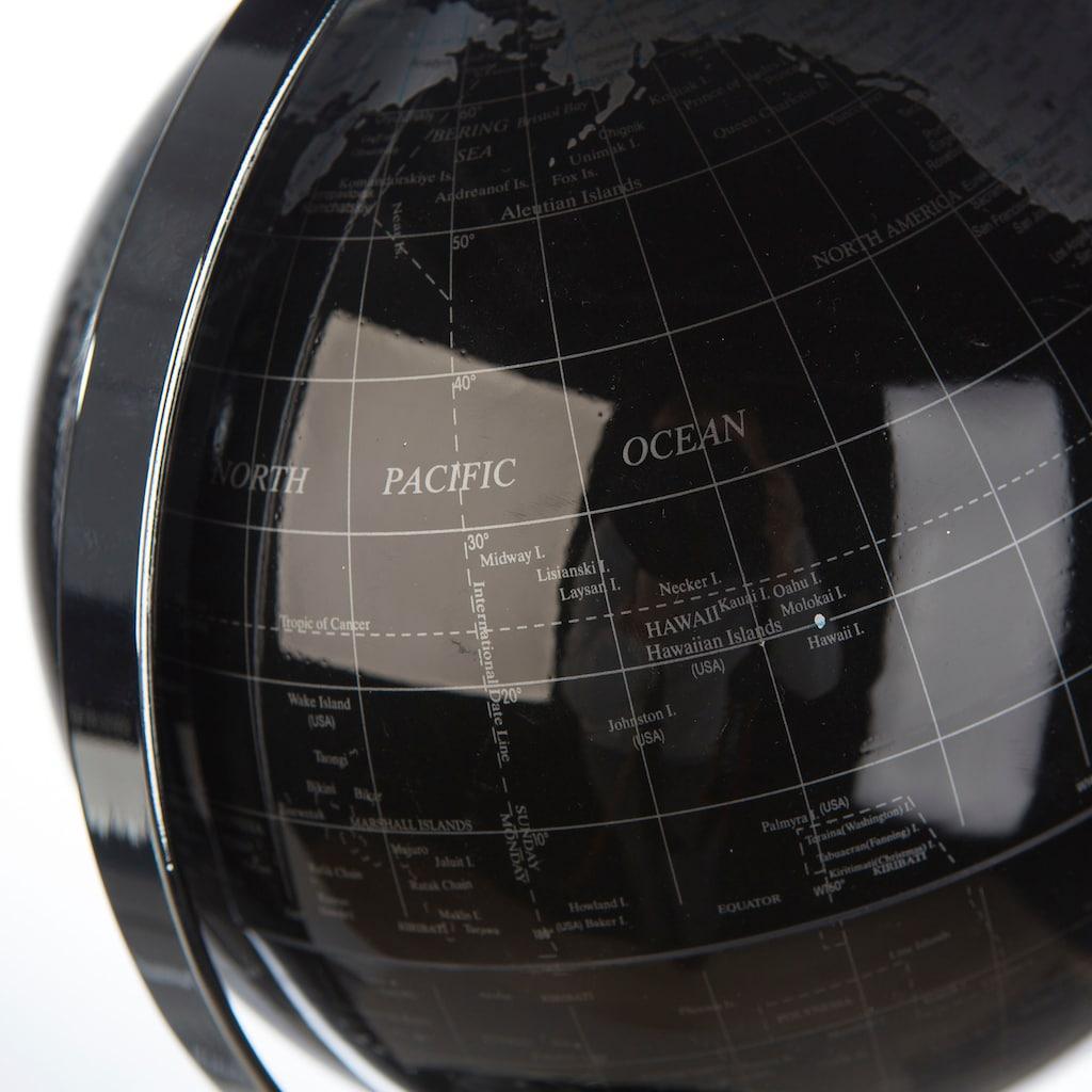 Casablanca by Gilde Dekoobjekt »Globus World, schwarz/silberfarben«, in 2 Grössen erhältlich (Ø 20 cm oder Ø 25 cm), Wohnzimmer