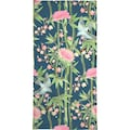 Juniqe Handtuch »Bamboo Birds and Blossom Teal«, (1 St.), Weiche Frottee-Veloursqualität
