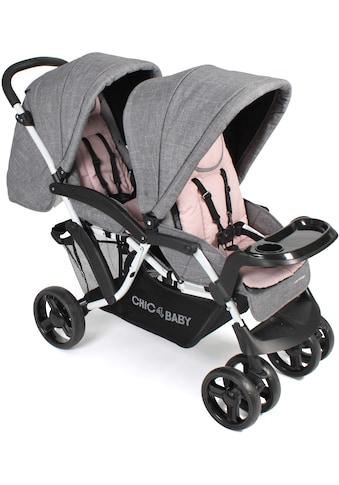 CHIC4BABY Geschwisterwagen »Doppio, Melange Rosa«, 30 kg, Kinderwagen kaufen