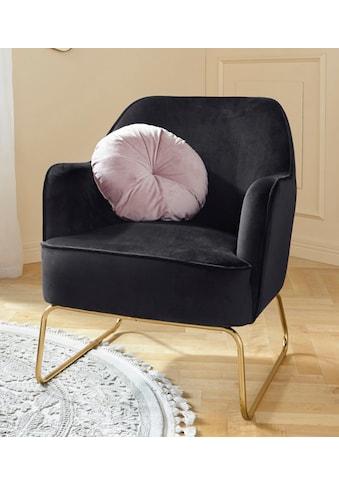 Leonique Sessel »Semois«, aus schönem weichen Velvet Bezug, mit messingfarbenen... kaufen