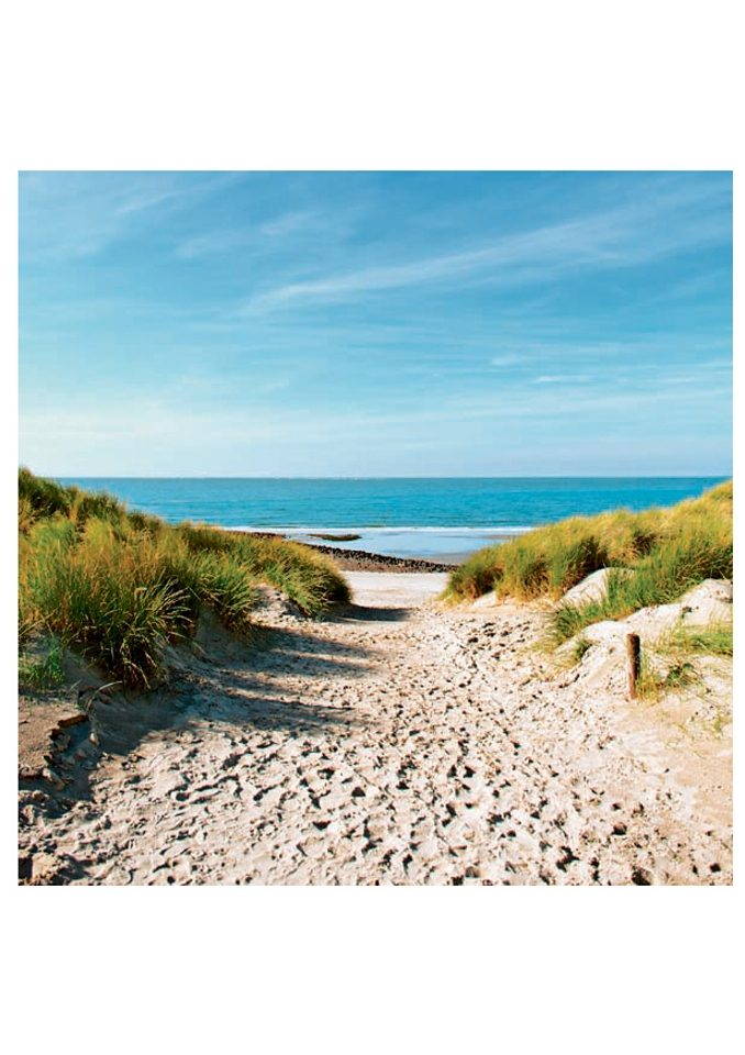 Image of Glasbild, Artland, »Beach with sand dunes and a path to the sea«, in 3 Grössen, ab Grösse: 30 x 30 cm