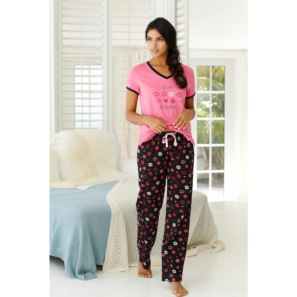 Vivance Dreams Pyjama, mit Kussmund Print