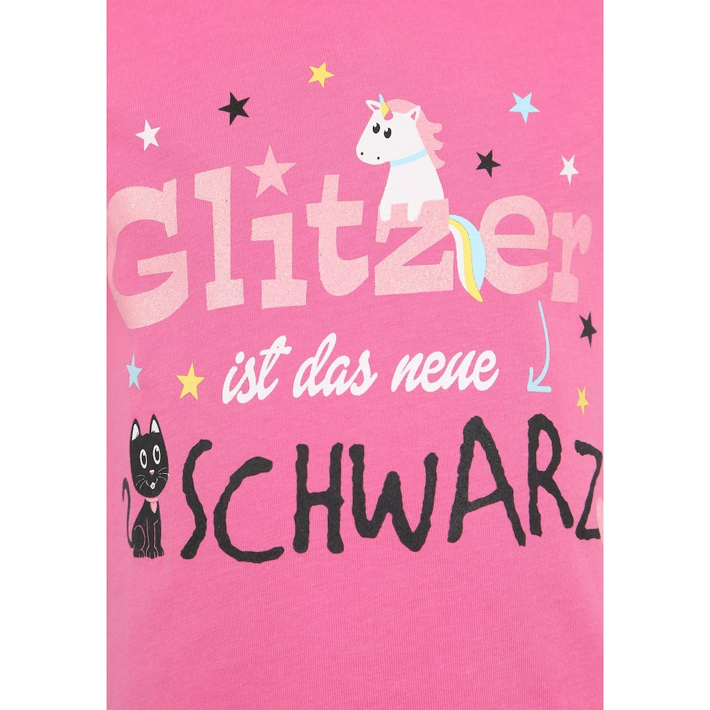 KIDSWORLD T-Shirt »Glitzer ist das neue Schwarz«, mit Glitzerdruck