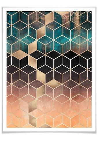 Wall-Art Poster »Gold Grün Geometrie«, Schriftzug, (1 St.) kaufen