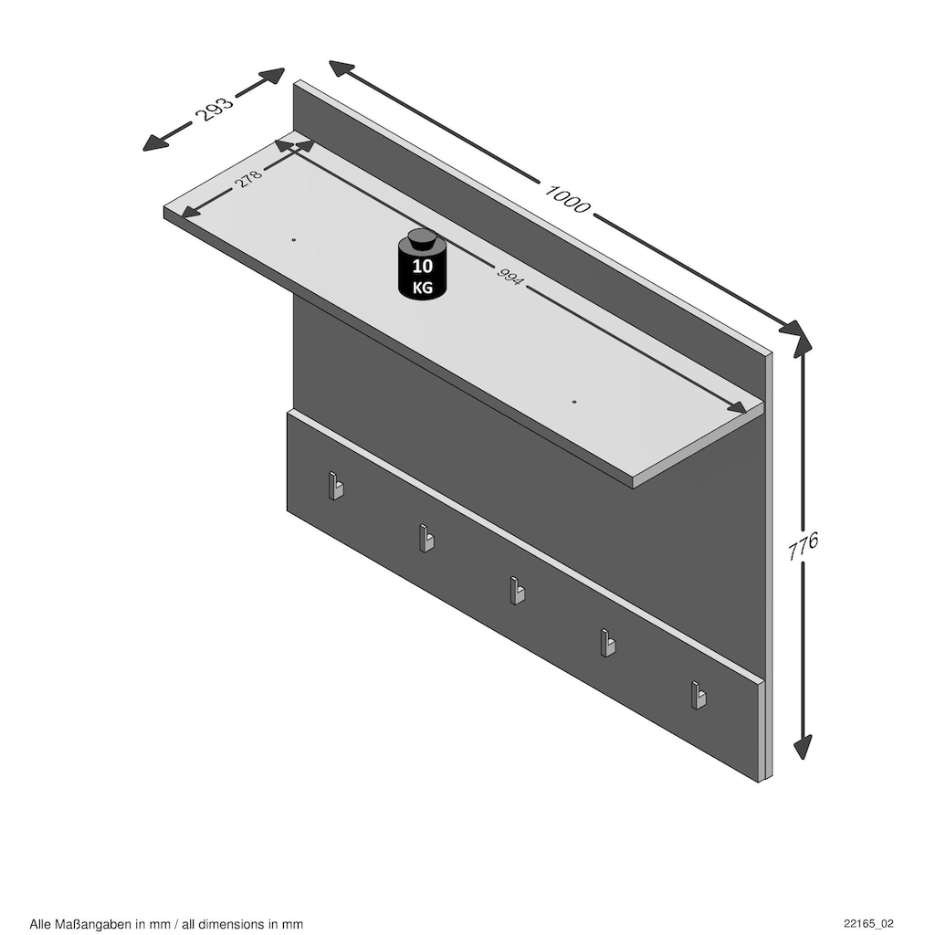FMD Garderobenpaneel »Alan 5«