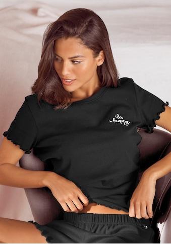 s.Oliver Pyjamaoberteil, mit Stickerei und Kräuselsaum kaufen
