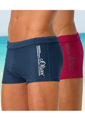 s.Oliver Beachwear Boxer-Badehose, mit Logoschriftzug im coolen Used-Look kaufen
