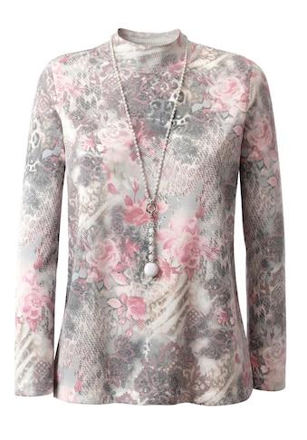Classic Pullover in floral bedruckter Feinstrick - Qualität kaufen