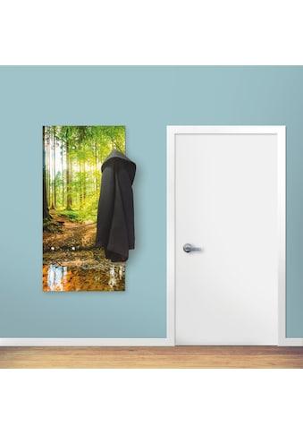 Artland Garderobe »Wald mit Bach«, platzsparende Wandgarderobe aus Holz mit 6 Haken,... kaufen