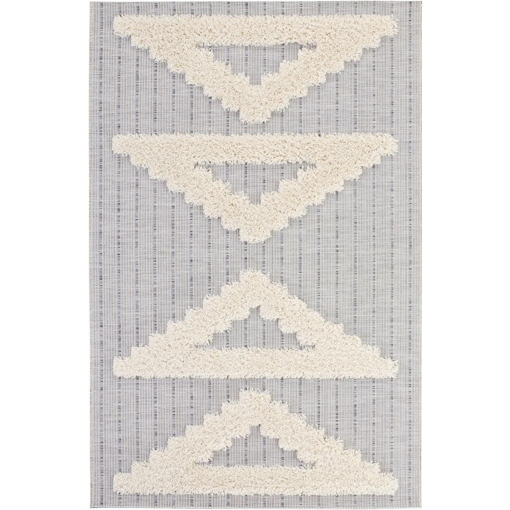 MINT RUGS Teppich »FES«, rechteckig, 35 mm Höhe, In- und Outdoor geeignet, Hoch-Tief-Struktur, Wohnzimmer