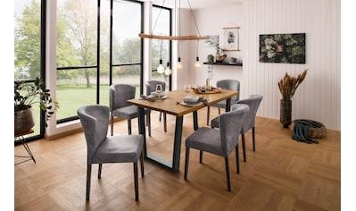 Home affaire Esstisch »Marne«, erstrahlt in einer pflegeleichten Holzoptik, mit einem massiven Kiefernholz Gestell, Tischplatte mit einem Fischgrätenmuster, in zwei Tischbreiten kaufen