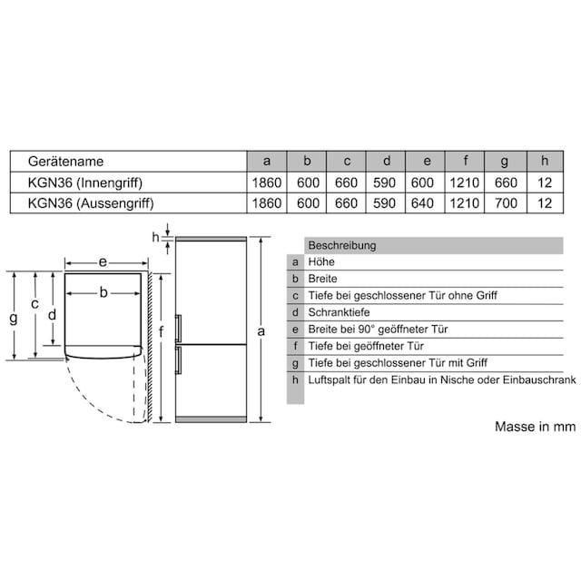 Kühl- und Gefrierkombination, Bosch, »KGN36VW35«