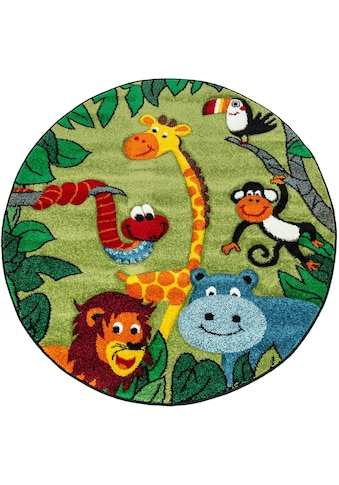 Paco Home Kinderteppich »Diamond 638«, rund, 18 mm Höhe, kurzflor, 3D-Design Dschungel Tiere kaufen