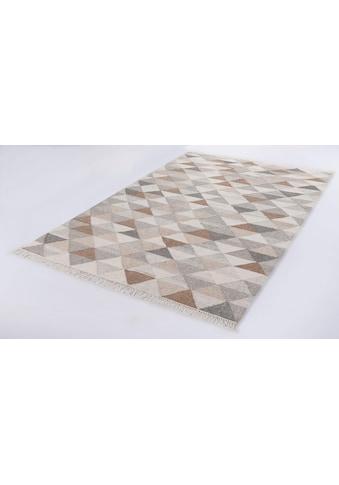 TOM TAILOR Teppich »Triangle Kelim«, rechteckig, 5 mm Höhe, Boho-Style, handgewebt,... kaufen
