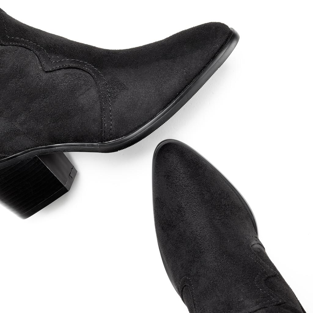 LASCANA Stiefel, Langschaft im coolen Cowboy-Look und mit Blockabsatz