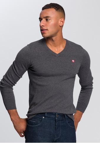 TOM TAILOR Polo Team V-Ausschnitt-Pullover, mit kleiner Logo Stickerei kaufen