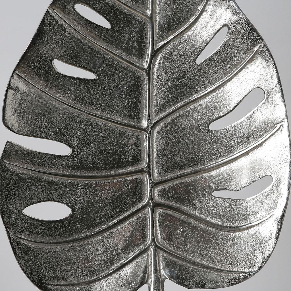 GILDE Dekoobjekt »Skulptur Leaf, antik silberfarben«, Höhe 40 cm, aus Metall, Blatt Monstera, Wohnzimmer