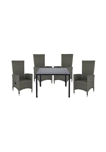 HOMEXPERTS Gartenmöbelset »Malta«, 5 - tlg., 4 Sessel, Tisch 90x90 cm, Alu/Polyrattan kaufen
