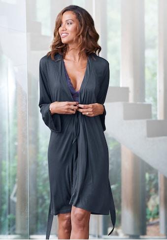 LASCANA Kimono, mit langen Ärmeln und Spitzen-Details kaufen