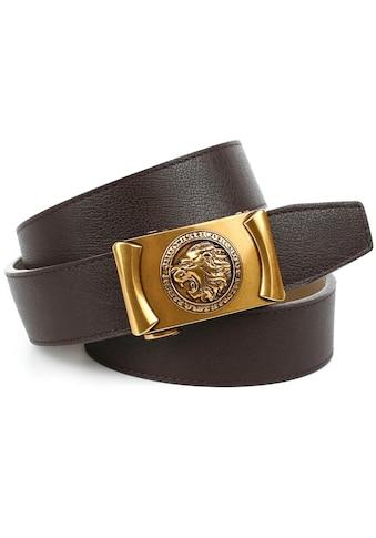 Anthoni Crown Ledergürtel, Automatik-Schliesse im Antik-Look mit Löwenkopf kaufen