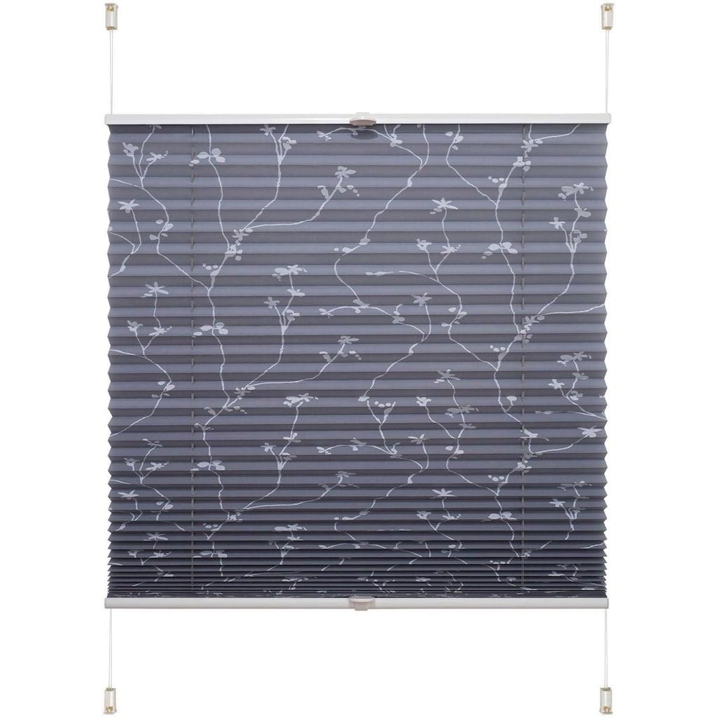 Liedeco Plissee »Klemmfix-Plissee Ranke grau«, Lichtschutz, ohne Bohren, verspannt, Klemmfix-Plisse mit floralem Druck