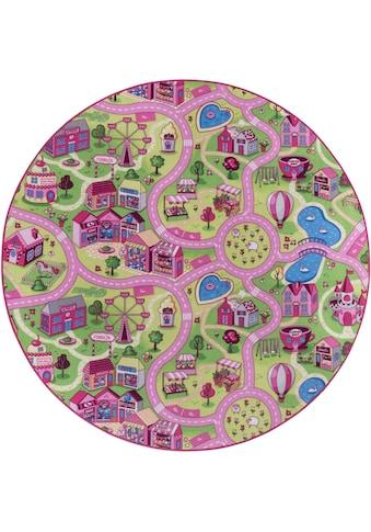Andiamo Kinderteppich »Sweet Village«, rund, 7 mm Höhe, Strassen-Spielteppich,... kaufen
