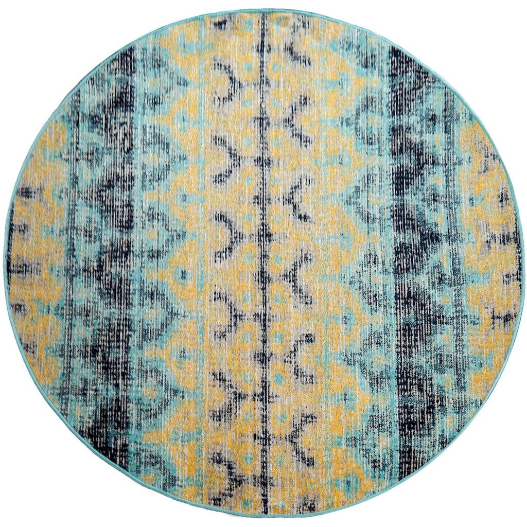 Paco Home Teppich »Artigo 417«, rund, 4 mm Höhe, Vintage Design, In- und Outdoor geeignet, Wohnzimmer