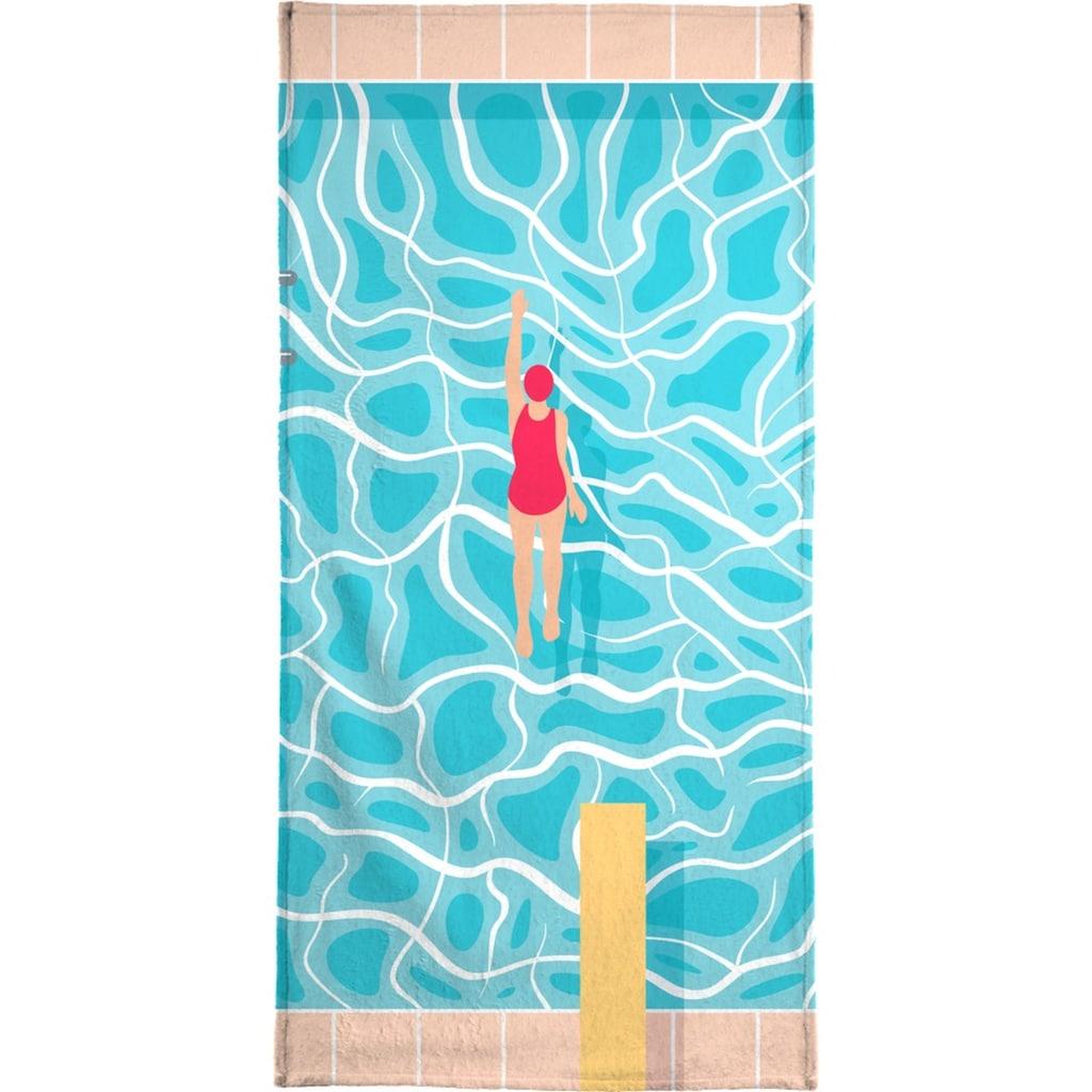 Juniqe Strandtuch »Pool«, Weiche Frottee-Veloursqualität