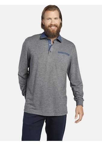 Jan Vanderstorm Langarm-Poloshirt »BERNWALD«, mit modischen Denim-Details kaufen