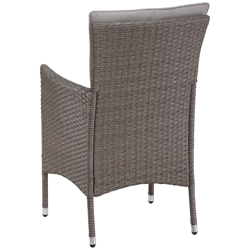 KONIFERA Gartenmöbelset »Mailand«, (7 tlg.), 2 Sessel, Tisch Ø 5 cm, Polyrattan