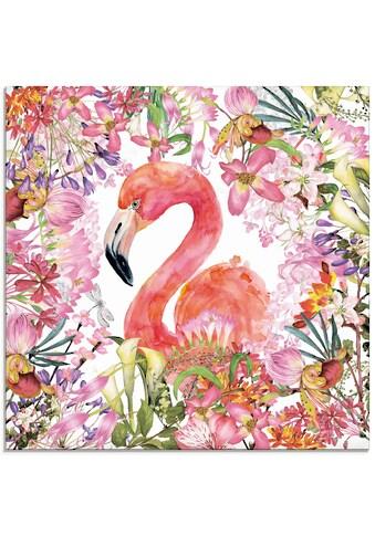 Artland Glasbild »Flamingo im Blüten Dschungel«, Vögel, (1 St.) kaufen
