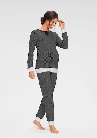Vivance Dreams Umstandspyjama, im Pünktchenmuster mit gestreiften Bündchen kaufen